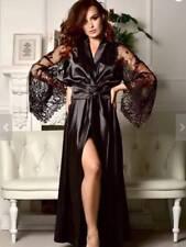 Women Lace Silk Satin Long Bath Robes Kimono Dress Wedding Bridesmaid Bride Gown
