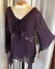 Lady 16 Purple Blouse Top Semi Sheer Sleeves XL Asymmetrical Hem Woman