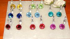 Silver Plated Milled Edge Drop Leveback Earrings & 8mm Resin Stone Choose Colour