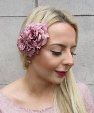 Dusky Dusty Pink Double Rose Flower Hair Clip Fascinator 1950s Rockabilly 4924
