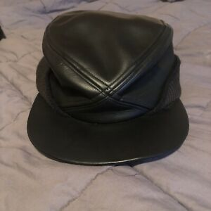 Vintage United Hatters black Newsboy Cabbie Cap Hat Size 7 1/4 with Bill