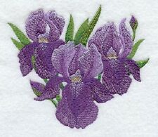 IRIS OF BEAUTY  DESIGN SET OF 2 BATH HAND TOWELS EMBROIDERED BY LAURA