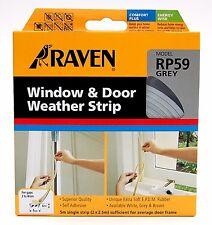 Raven WINDOW & DOOR WEATHER STRIP Self Adhesive Rubber Covers 2-4mm Gap 5m GREY