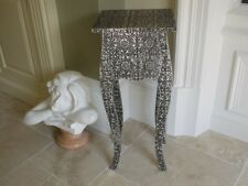 BLACK AND SILVER EMBOSSED TELEPHONE SIDE TABLE WITH DRAWER