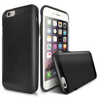 For Apple iPhone 6S/6 Black Hybrid Shockproof Armor Card Slot Cover Phone Case