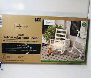 Mainstays White Kids Wooden Porch Rocker (Ages 2-5) Easy Assembly