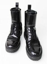 BALMAIN H&M MEN'S Black Patent Leather Combat Boots Sneakers US 9 EU 42 UK 8