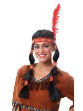 Intrecciato Nativo Americano Indiano Femmina Costume Parrucca Con Piuma Rossa