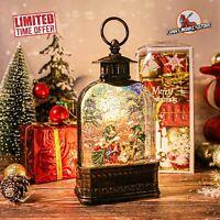 Holy Family Lighted Christmas Snow Globe Lantern Swirling Glitter Water Decor