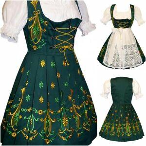 Sz 2 XS Dirndl Trachten German Dress Oktoberfest Waitress Christmas Short Green