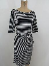 MSK Black/White Stripe Short Sleeve Ruched Side Dress-Size M