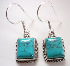 Turquoise with Fine Rope Style Accents 925 Sterling Silver Dangle Earrings