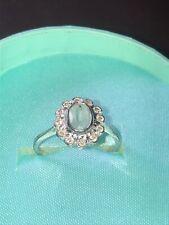9ct White Gold Blue Topaz & Diamond Cluster Ring Size N