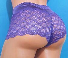 GRACE Red Blue White Satin Hearts Lace Nylon Booty Shorts Sissy Panties M L XL