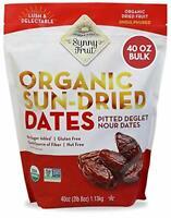 Sunny Fruit Organic Sun Dried Dates Pitted Deglet Non GMO 40 OZ