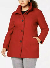 Nautica Plus Size Wool Blend Stand Collar Peacoat Red UK Size 20
