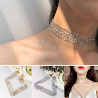 Sequin Gold/Silver Choker Necklace Wide Party Statement Collier Thick Mesh