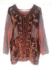RAAGA Boho Hippie Rayon Romantic Tunic Shirt Top O/S S M L Funky Burgundy