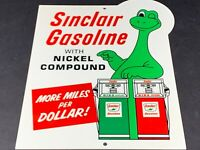 "VINTAGE SINCLAIR GASOLINE W/ DINO & GAS PUMPS 12"" BAKED METAL GASOLINE OIL SIGN!"
