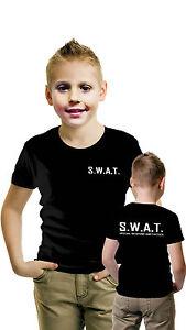 CHILDREN SWAT TEAM T-SHIRT FANCY DRESS COSTUME POLICE FBI TACTICAL MILITARY