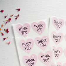 THANK YOU STICKERS Pink Heart Labels Seals Party Favours Bombonieres Card 60 pcs