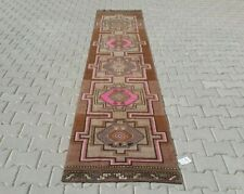 BROWN Turkish Hallway Runner 2x12ft Vintage Oushak Anatolian Handmade Wool Rug