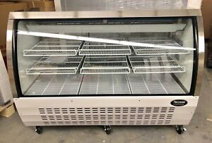 """Deli case new 60"""" 5' Show Curved Glass refrigerator display Bakery Pastry meat"""