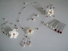 Parure Bijoux Bordeaux/Ivoire/Blanc robe Mariée/Mariage fleur collier pas cher
