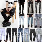 Mens Vintage Designed Straight Slim Fit Denim Jeans Trousers Casual Skinny Pants