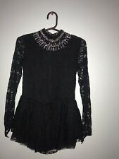 Figure Skating Girls Test Competition Black Lace Dress Size 10-11