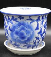 "Antique Chinese Blue and White Jardiniere Planter Porcelain Pot Lotus Flower ""6"""
