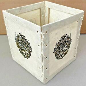 "Handmade Lokta Paper Lamp Shade from Nepal - Gold and Black Garuda 4 1/2"""