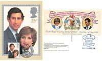 Postcard Princess Diana & Prince Charles 1981 Royal Wedding Exeter Stamp Exhibit