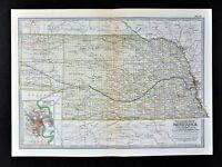 1902 Century Map Nebraska Omaha Kearney Lincoln City Columbus Hastings Fremont