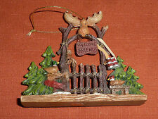 """Rustic Gate with Trees, Ducks, Moose and Sign """"Welcome Friends"""""""
