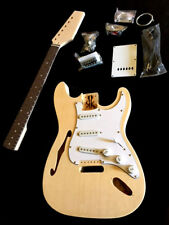 RARE STRAT STYLE SEMI HOLLOW CHAMBERED 6 STRING ELECTRIC GUITAR DIY BUILDER KIT
