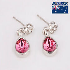 Brand New 18K White GOLD GF Drop Earings  With SWAROVSKI Crystal- Pink