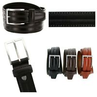 """Mens Italian Genuine Leather Dress Casual Belt, Made in Italy 1-3/8"""" Wide"""