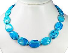 EXCEPCIONAL Cadena de piedras preciosas de tamaños azules Ágata en forma ovalada