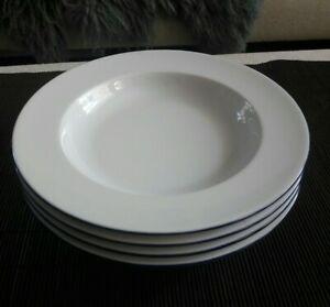 TCM TCHIBO 4 x Suppenteller Porzellan weiß Fahne blauer Rand Ø 22 cm