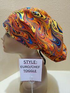 Paint Swirls (multi) Women's  Euro/Chef Surgical Scrub Hat/Cap Handmade