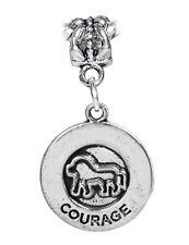 Courage Cowardly Lion Medallion Brave Dangle Charm for European Bead Bracelets