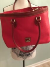 Red Vintage Dooney And Bourke Canvas And Leather Purse/satchel/handbag/tote
