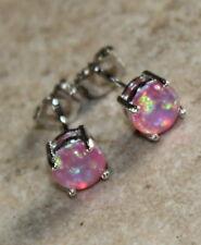 SILVER Elegant Pink Fire Opal Round Stud Earrings Jewelry Woman Gift #7