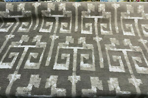 Tribal Text Styles Chesnut Gray Brown TFA Chenille Upholstery Fabric by the yard