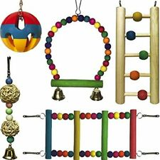 Parrot Toy Set – Hanging Parrot Swing – Wooden and Metal Parrot Swing – Me