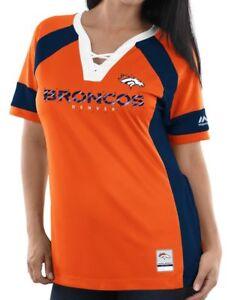 NWT Women's Majestic Denver Broncos Draft Me Fashion Top Orange