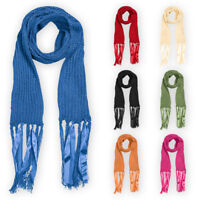 Womens Ladies Ribbed Scarf Assorted Colours Long Warm Soft Girls Neckwear Shawl