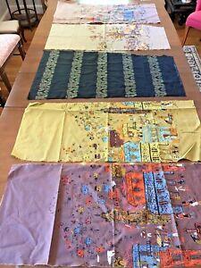 Vintage Border Print Millworth Corp. 1950s Fabric Design Remnants Lot 5 Rare