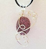 Lava Diffuser Aromatherapy Essential Oil Scent Necklace Wire Wrapped Handcrafted